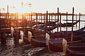 Gondolas moored in the Canale Grande in Venice, Veneto, Italy at sunrise.