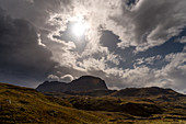 Clouds over the Suilven, Inverpolly Nature Reserve, Highlands, Scotland, UK