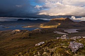 View from Stac Pollaidh on Loch Sionasgaig and Cul Mor, Inverpolly Nature Reserve, Highlands, Scotland, UK