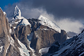 View of the snowy summit of Cerro Torre, from Paso Marconi, Los Glaciares National Park, Patagonia, Argentina