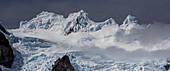 Ice mushrooms on Cerro Grande, from Campo de Hielo Sur, Los Glaciares National Park, Patagonia, Argentina