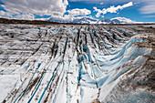 Crevasses of the Glaciar Viedma, Cordon Mariano Moreno in the background, Los Glaciares National Park, Patagonia, Argentina