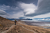 Mountaineer on the Paso del Viento, Glaciar Viedma, Los Glaciares National Park, Patagonia, Argentina