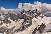 View from the west on the massif of the Grandes Jorasses, Mont Blanc group, France