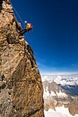 Climber hibernates, Rochefort, Grandes Jorasses, Mont Blanc group, France