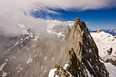 Clouds on the ridge of the Grandes Jorasses, view on glacier, Mont Blanc group, France