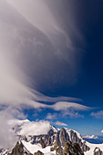 Foehn clouds in the sky over the Grandes Jorasses, Mont Blanc group, France
