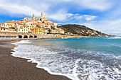 Waves break on the beach of Cervo village. Cervo, Imperia province, Liguria, Italy, Europe.