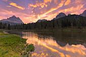 Sunrise at Antorno Lake. Three Peaks of Lavaredo in the background. Dolomites of Sesto / Sexten, Province of Belluno, Veneto, Italy,  Europe.
