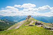 The view from refuge Roda di Vael, Val di Fassa, Dolomites, Province of Trento, Trentino Alto Adige - South Tyrol, italian alps, Italy