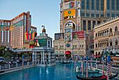 Artificial lagoon in front of the Venetian Resort Hotel in Las Vegas, Nevada, USA