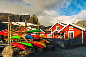 Kayak for rent in the fishing village of Reine, Moskenes, Nordland, Lofoten Islands, Norway