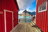 Traditional fishermen's red cabins, Sakrisoy, Reine, Nordland, Lofoten Islands, Norway