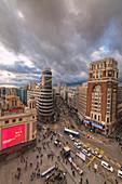 Elevated view of Plaza del Callao (Callao Square) and Gran Via Avenue, Madrid, Spain
