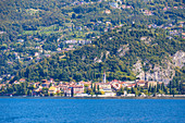 The iconic village of Varenna seen from a boat trip on Lake Como, Lecco province, Lombardy, Italy