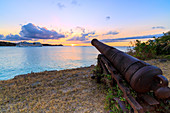 Old cannon, Fort James, St. Johns, Antigua, Antigua and Barbuda, Caribbean, Leeward Islands, West Indies