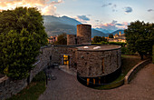 Panoramic elevated view of library (Biblioteca civica Ezio Vanoni), Morbegno, Sondrio province, Valtellina, Lombardy, Italy