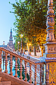 Decorated ceramic balustrade and balcony of typical bridge on the canal, Plaza de Espana, Seville, Andalusia, Spain