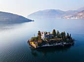 Panorama über den Iseo See, Marone und Loreto Island, Provinz Brescia, Lombardei, Italien, Europa
