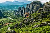 Monastery of Moni Agias Varvaras Roussanou and rocky pinnacles of Meteora, Thessaly, Greece