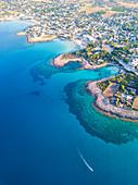 Marina di Pulsano aerial view, Taranto province, Apulia, Salento, Italy, Europe.