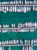 Boats, aerial view, Campomarino di Maruggio, Taranto province, Apulia, Salento, Italy, Europe.