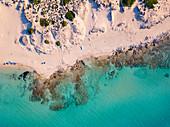 Dune of Campomarino di Maruggio aerial view, Taranto province, Apulia, Salento, Italy, Europe.
