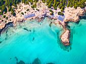 Punta della Suina Beach aerial view, Lecce province, Apulia, Salento, Italy, Europe.