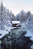 Myllytupa gorge at Oulanka National Park in winter, Oulu, Lapland, Finland, Europe