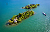 Aerial view of the Brissago Islands near Ascona, on the northern part of the Lake Maggiore. Canton Ticino, Switzerland.