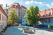 cesky Krumlov, South Bohemia, Czech Republic, Europe, inside the walls of the Castle of Krumlov