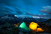 Illuminated tents camping with Mont Blanc massif on background,Close to Lac Blanc, Chamonix, France, French