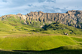 Alpe di Siusi/Seiser Alm, Dolomites, South Tyrol, Italy. The rock walls of Denti di Terrarossa