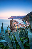 Sunrise on the village of Vernazza from above. Cinque Terre, Liguria, Italy, Europe.