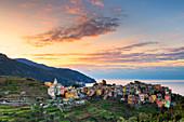 Sunrise in the village of Corniglia. Cinque Terre, Liguria, Italy, Europe.