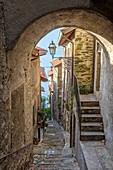 Alley of Corenno Plinio. Como Lake, Lombardy, Italy, Europe.