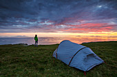 Sunset with tent at Neist Point, Isle of Skye, Scotland, United Kingdom, Northern europe
