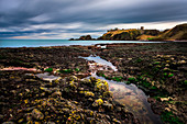 Dunnotar castle from the shore, Stonehaven, Scotland, United Kingdom, Northern Europe