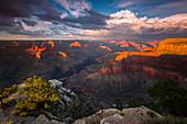 Grand Canyon National Park bei Sonnenuntergang, Südkante, Pima Point, Arizona, Nordamerika, USA