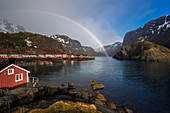 Nusfjord with rainbow, Flakstad, Nordland, nord Norge, Norway, Northern Europe