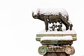 The statue of the she-wolf covered of snow after the great snowfall of Rome in 2018 Europe, Italy, Lazio, Province of Rome, Rome