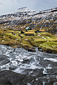 Iconic green roof houses (Saksun village, Streymoy island, Faroe Islands, Denmark)