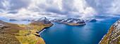 Aerial panoramic view of Vidareidi and Vidoy Island (Vidoy island, Faroe Islands, Denmark)