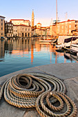 Close up of a rope in the harbour at sunset, Piran, Istria, Slovenia