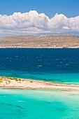 The narrow stretch of white sand which divides Simos beach, Elafonissos, Laconia Region, Peloponnese, Greece