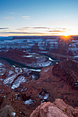 Sunset at Dead Horse Point State Park in winter season, Moab, Utah, USA