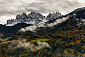 panorama of Odle mountain, Funes Valley, Bolzano province, Trentino Alto Adige district, Dolomites, South Tyrol, Italy, Europe.