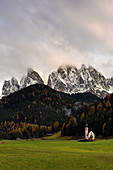 San Giovanni in Ranui church in Funes Valley, Bolzano province, Trentino Alto Adige district, Dolomites, South Tyrol, Italy, Europe.
