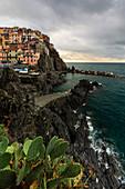 cloudy day at Manarola, national park of Cinque Terre, municipality of Riomaggiore, La Spezia province, Liguria district, Italy, Europe