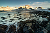 seascape with long exposure at sunset in Ersfjorden, Senja, Northern Norway, Europe.